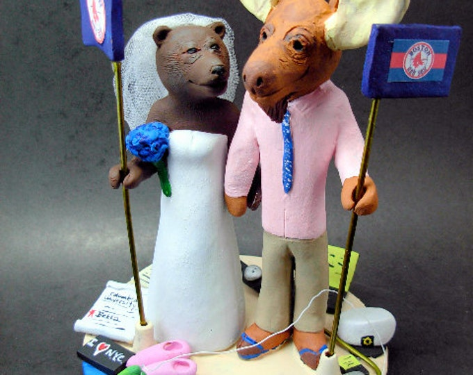Moose Groom and Bear Bride Custom Wedding Cake Topper - Custom Made Wedding Cake Topper - Moose Groom Wedding Cake Topper -Bear Bride topper
