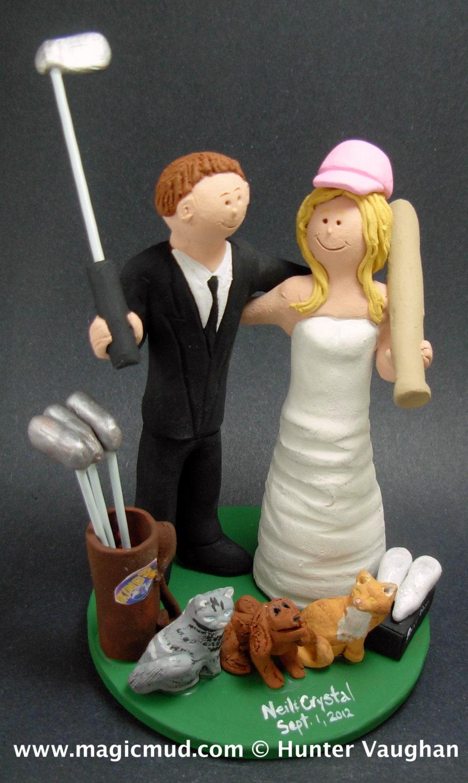 Golfing Wedding Cake Toppers, Custom Made Golfers Wedding Cake ...