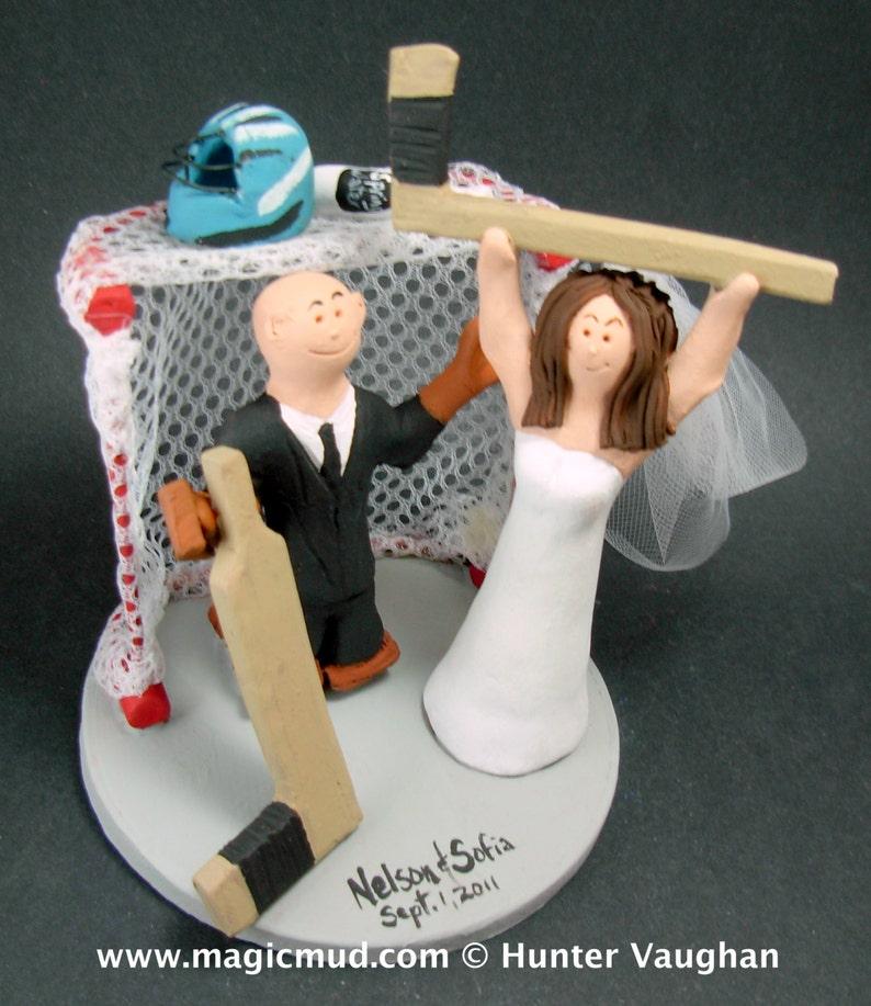 Hockey Bride Wedding Cake Topper Goalie Groom Wedding Cake Etsy