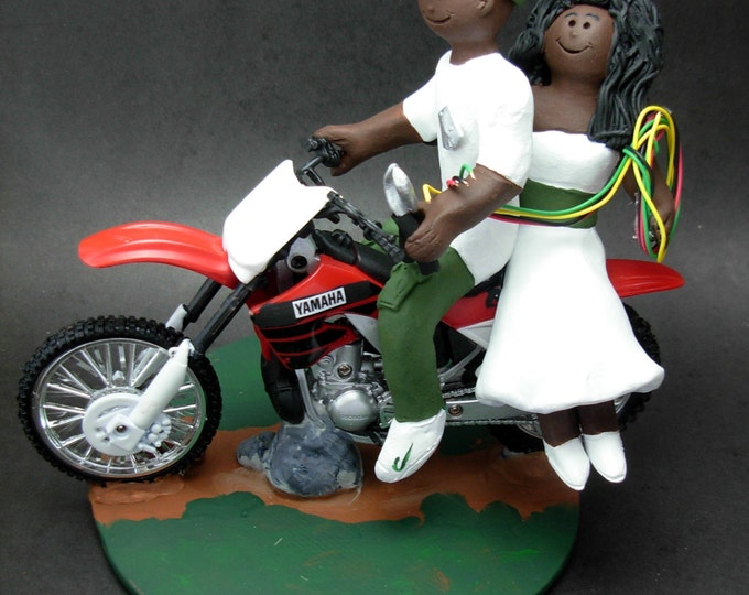 African American Motorcycle Wedding Cake Topper - Custom Made