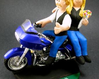 Goateed Groom on a Harley Wedding Cake Topper, Harley Wedding Anniversary Gift/Cake Topper, Motorcycle Bride and Groom Wedding Cake Topper.