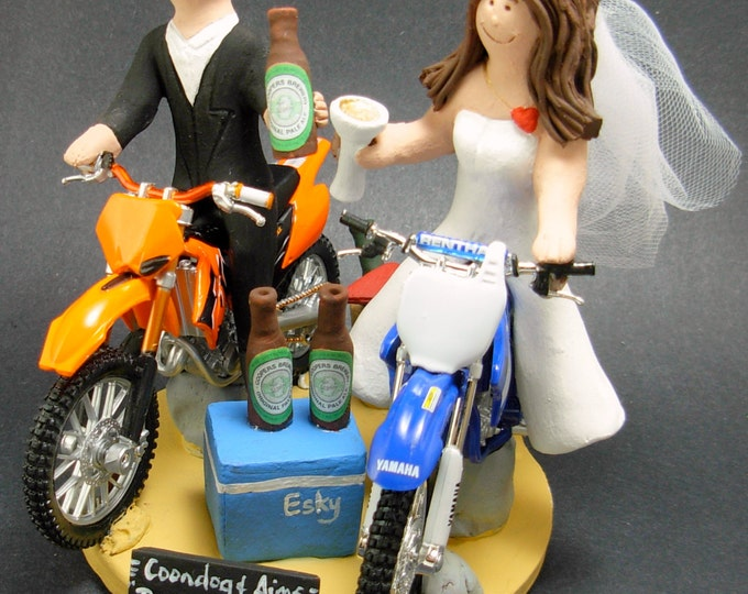 KTM Off Road Motorcycle Wedding Cake Topper, Anniversary Gift for Motorcycle Riders, Dirt Biker's Wedding Anniversary Gift, Wedding Figurine