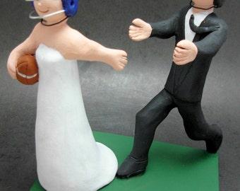 Football Groom Chases Bride Wedding Cake Topper, Custom Made Steelers Wedding Cake Topper - New York Giants Wedding Cake Topper