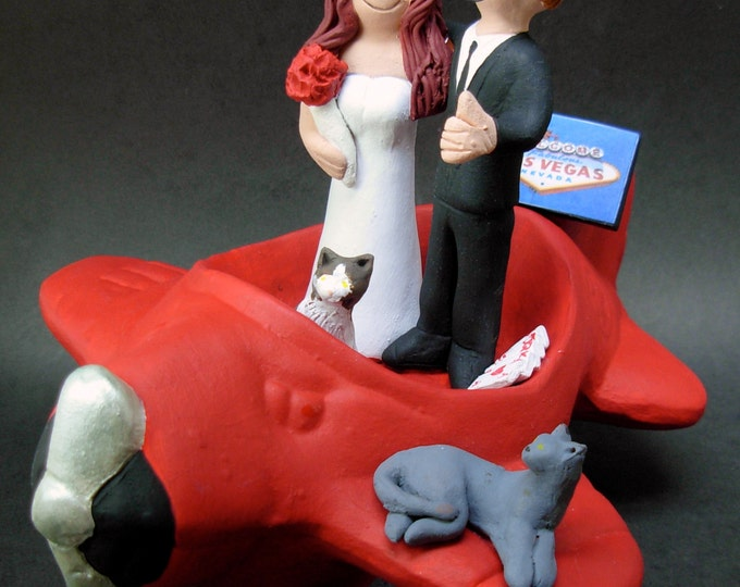 Airplane Pilot's Wedding Cake Topper - Bride and Groom in Airplane Wedding Cake Topper - Wedding Cake Topper for a Pilot- Pilot Figurine