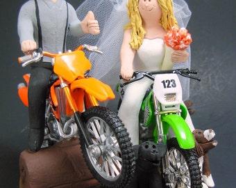 Bride and Groom on Dirt Motorcycles Wedding Cake Topper, Dirt Motorcycles Wedding Anniversary Gift/Cake Topper, KTM Wedding Anniversary Gift
