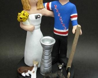 Personalized Hockey Wedding Cake Topper, custom made to order New York Rangers Wedding Cake Topper- NHL Hockey Wedding Cake Topper
