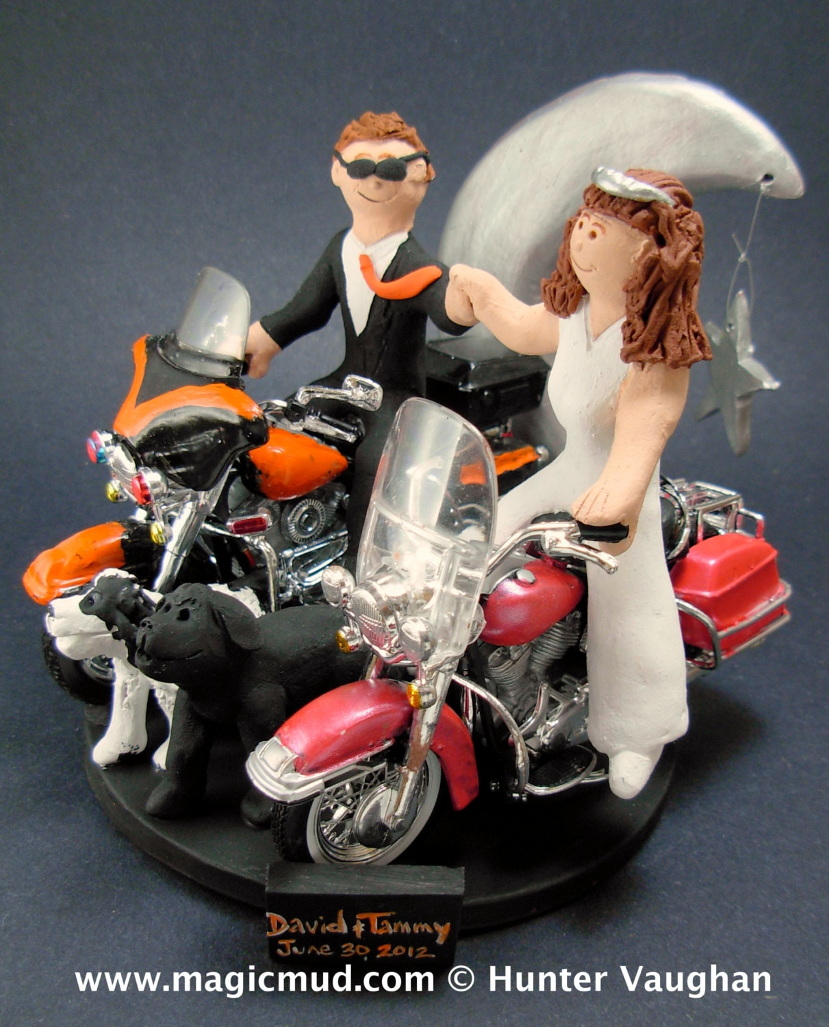 Bride And Groom Riding Harley Davidson Motorcycles Wedding Cake Topper Fist Bump Wedding Cake Topper Motorcycle Bride Wedding Cake Topper