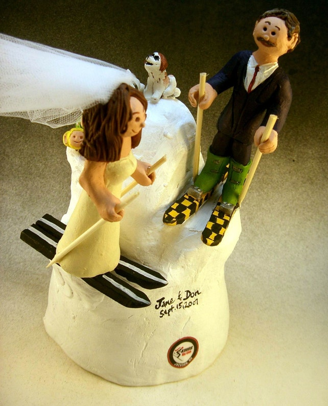 Skiers Wedding Cake Topper Skiing Wedding Cake Topper Bride | Etsy