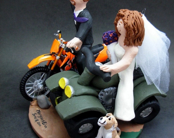 Bride on ATV Groom on Motorcycle Wedding Cake Topper, ATV Riders Wedding Anniversary Gift, Off Road Riders Wedding Anniversary Gift,