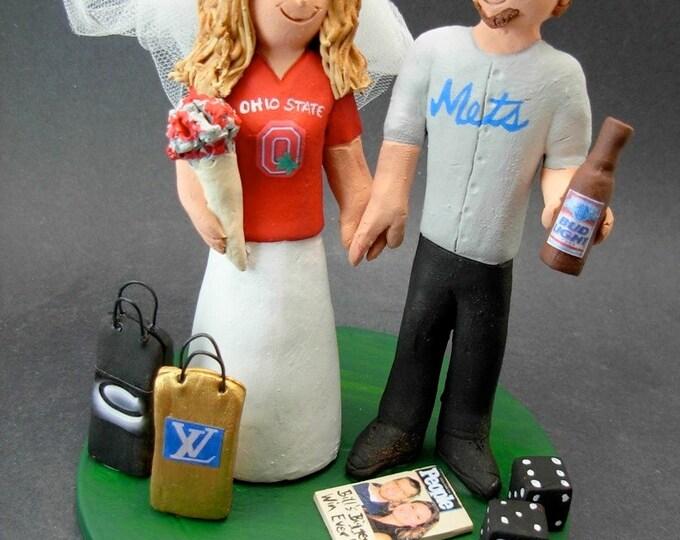 Buckeyes Bride Mets Groom Baseball Wedding Cake Topper, Ohio Buckeyes Wedding Cake Topper, Ohio Buckeyes Wedding Anniversary Gift