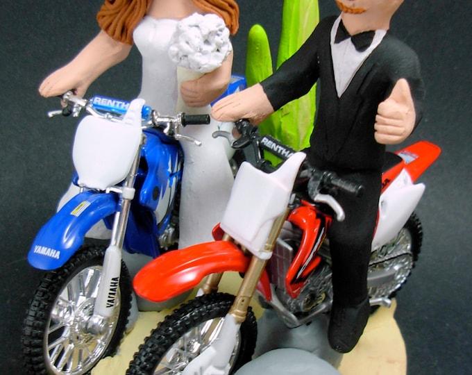 Desert Dirt Bike Motorcycle Wedding Cake Topper, Anniversary Gift for Honda Motorcycle Riders, Honda Dirt Biker's Wedding Anniversary Gift.