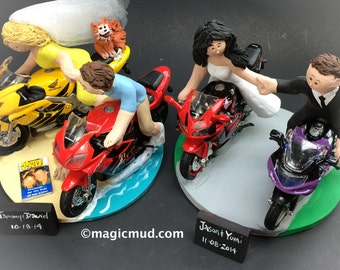 Crotch Rocket Motorcycles Wedding Cake Topper - Custom made Motorcycle Wedding Cake Topper, Honda Motorcycle Wedding Cake Topper