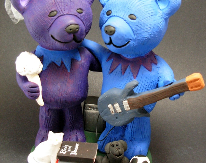 Guitar Playing Jerry Bear's Wedding Cake Topper, Custom Made Grateful Dead Dancing Bears Wedding Cake Topper, Jerry Bear Wedding Cake Topper