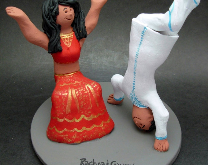Bhanghra Hip Hop Dancers Wedding Cake Topper, HipHop Wedding Cake Topper, Bride in Sari Wedding CakeTopper, Dancing Groom Wedding CakeTopper