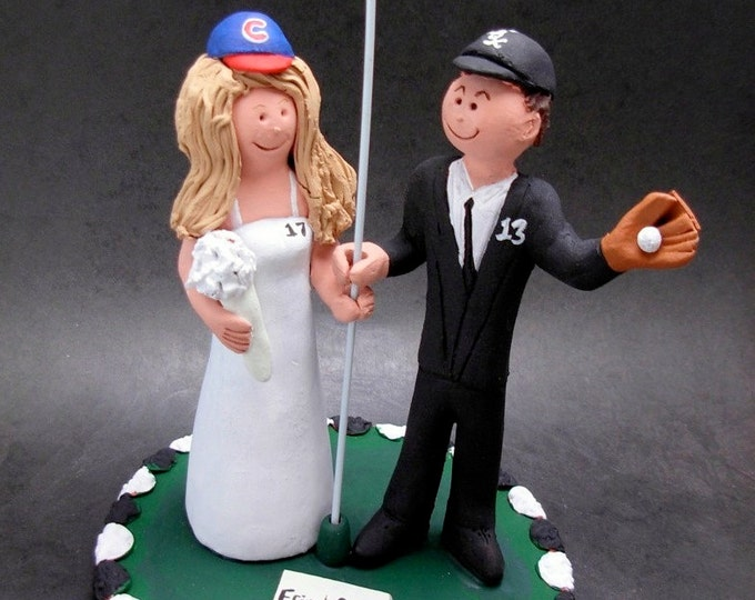 Chicago White Sox Groom Marries Chicago Cubs Bride Wedding Cake Topper, Chicago White Sox Wedding Anniversary Gift, Cubs Wedding Anniversary