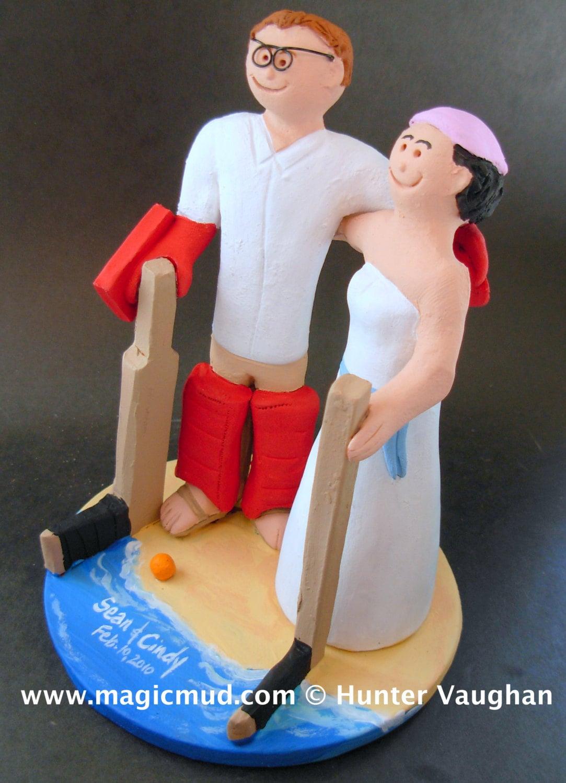 Hockey Honeymoon On Beach Wedding Cake Topper Hockey Bride