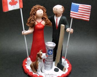 International Flags Wedding Cake Topper - Canadian Flag Wedding Cake Topper - American Flag Wedding Cake Topper - Old Glory Caketopper