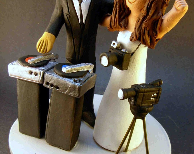 American Bride and Latino Groom Wedding Cake Topper, DJ Wedding Cake Topper, Disc Jockey Wedding Cake Topper, DJ Wedding Anniversary Gift.