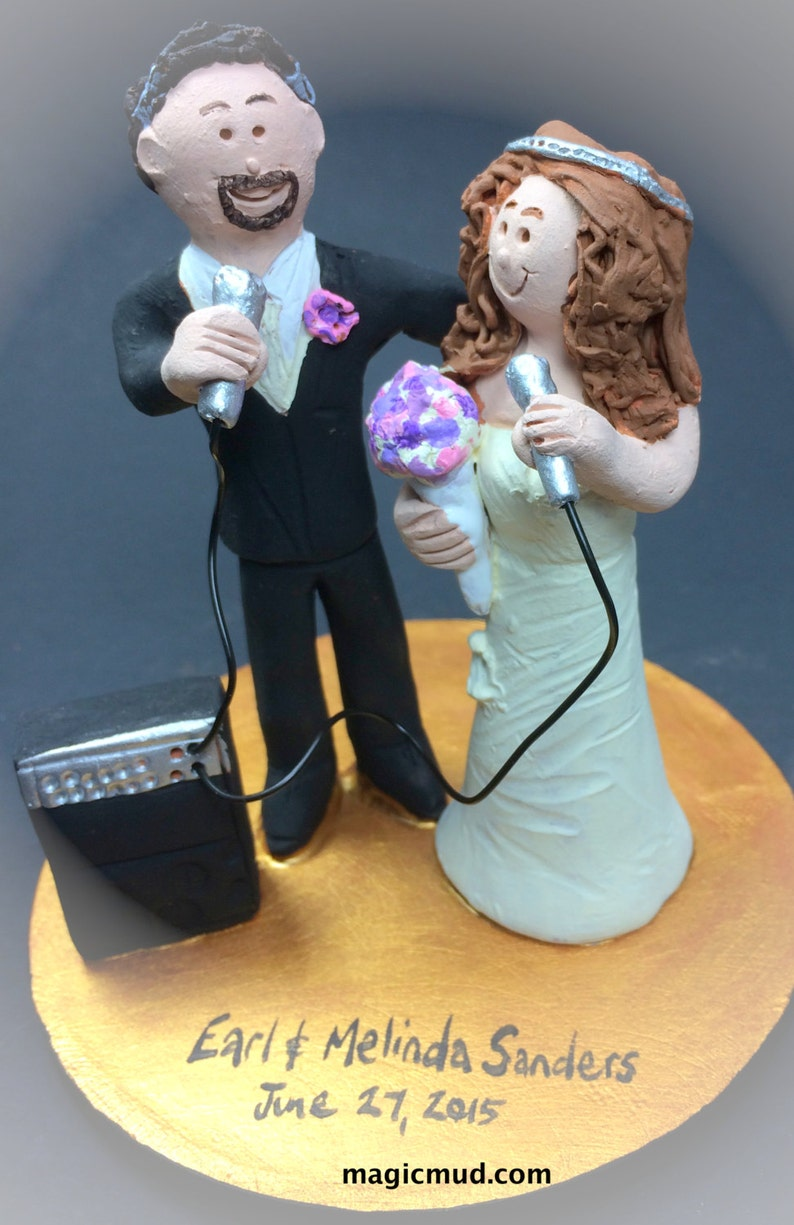 Bride and Groom with Microphones Wedding Cake Topper ...