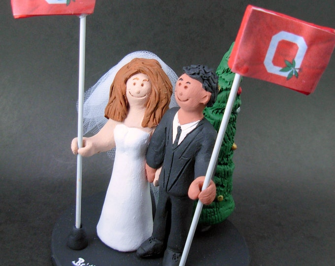 Hispanic Groom Marries Caucasian Bride Wedding Cake Topper, African American Groom Wedding CakeTopper, Ohio State Wedding Anniversary Gift.