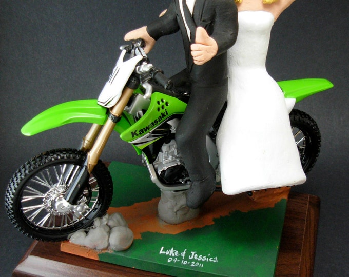 Kawasaki Off Road Motorcycle Wedding Cake Topper, Anniversary Gift for Motorcycle Riders, Dirt Biker's Wedding Anniversary Gift.