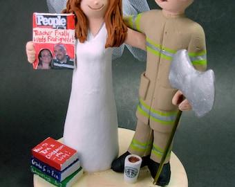 Fireman - Firefighter Wedding Cake Topper - Custom made to Order Fireman Wedding Cake Topper - Fireman Wedding Cake Topper -