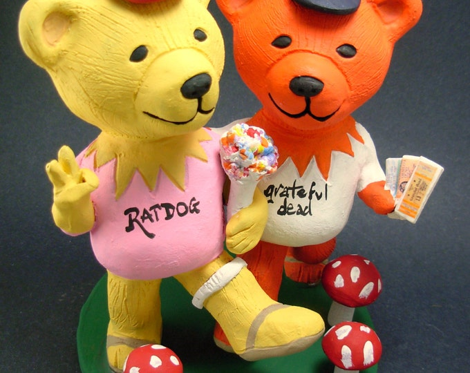 Jerry Bears with Grateful Dead Concert Tickets Wedding Cake Topper, Grateful Dead Dancing Bears Wedding Cake Topper, Jerry Bear Cake Topper