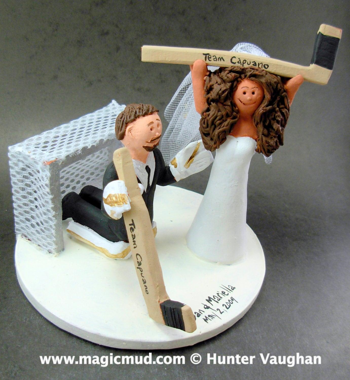 Goalie Groom Wedding Cake Topper Hockey Bride And Groom