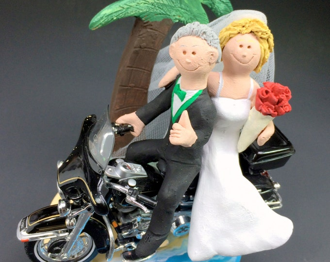 Tropical Destination Harley Motorcycle Wedding Cake Topper
