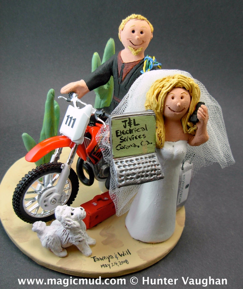 African American Motorcycle Wedding Cake Topper Custom