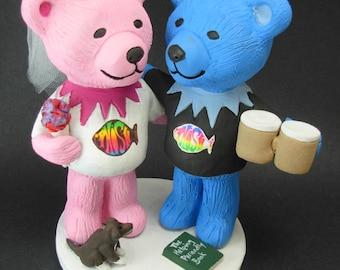 Phish Fan's Wedding Cake Topper, Custom Made Grateful Dead Dancing Bears Wedding Cake Topper, Jerry Bear Wedding Cake Topper
