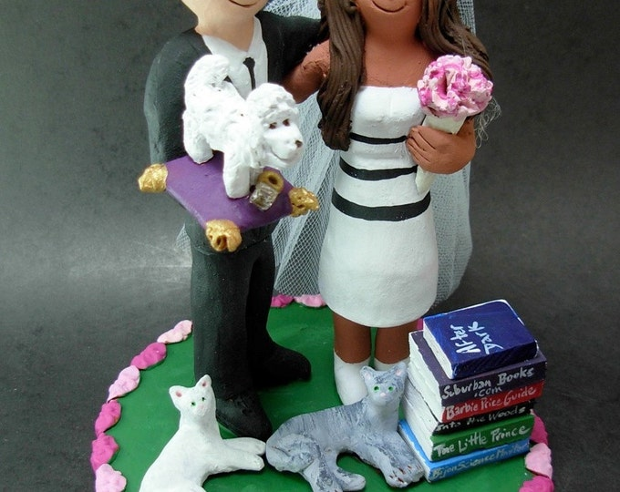 Mixed Race - Interracial Wedding Cake Topper, Wedding Cake Topper for a Mixed Race Bride and Groom, Bi - RacialWedding Cake Topper