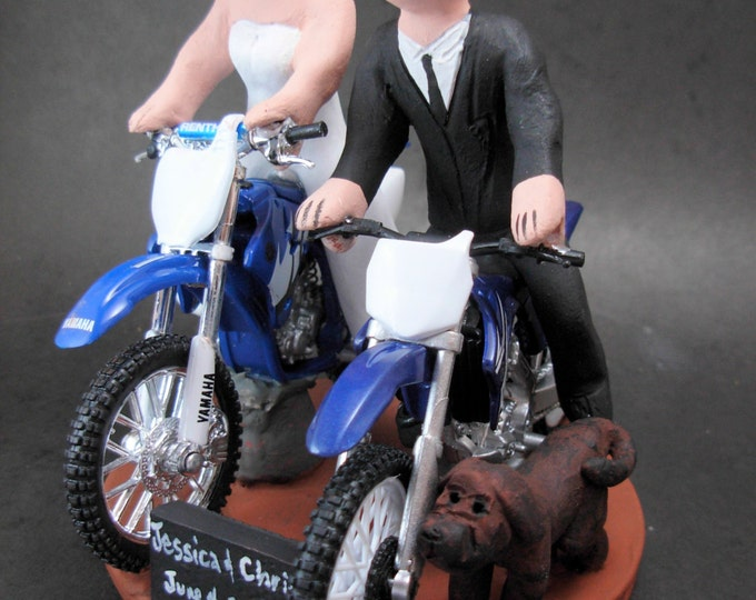 Bride and Groom Ride Off Road Motorcycle Wedding Cake Topper, Anniversary Gift for Motorcycle Riders, Dirt Biker's Wedding Anniversary Gift.