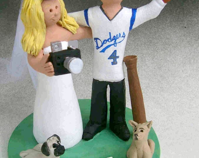 Dodgers Baseball Fans Wedding Cake Topper, Bride with Camera Wedding Cake Topper, Dodgers Wedding Anniversary Gift, Dodgers Marriage Statue