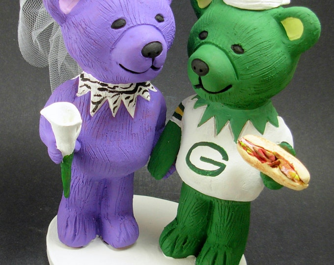 Grateful DeadHeads Wedding Cake Topper, Custom Made Grateful Dead Dancing Bears Wedding Cake Topper, Jerry Bear Wedding Cake Topper