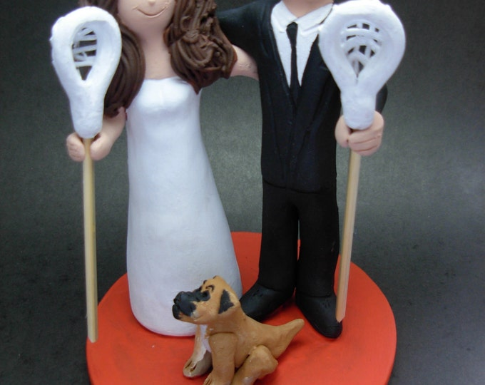 Lacrosse Wedding Cake Topper, Lacrosse Players Wedding Cake Topper, Athletes Wedding Cake Topper, Any Sport Wedding Cake Topper Custom Made