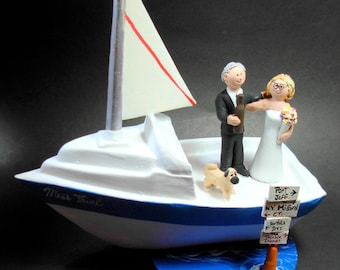 Boating Wedding Cake Topper - Yachting Wedding Cake Topper - Sailboat Wedding Cake Topper - Bride and Groom in Boat Wedding Cake Topper