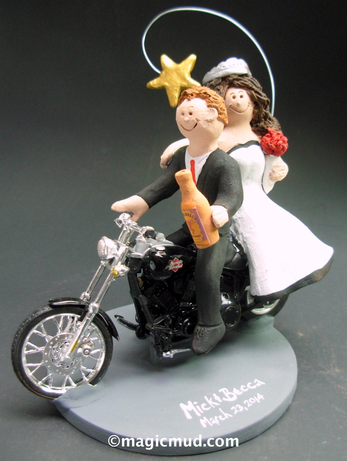 Couple On Harley Davidson Sportster Wedding Cake Topper Bikers Wedding Anniversary Gift Caketopper For Motorcycle Bride