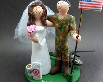 Army Pilot with Blackhawk Helicopter Wedding Cake Topper, Army Camouflage Wedding Cake Topper, American Flag Wedding Cake Topper
