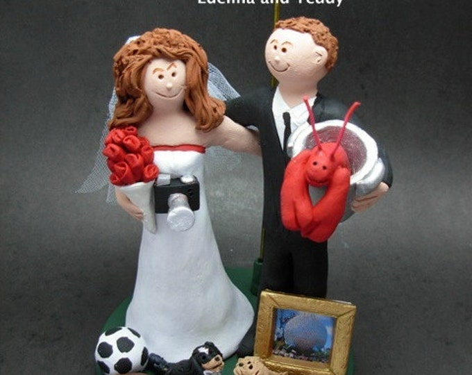 Personalized Custom made Wedding Cake Topper - Fashionista's Wedding Cake Topper - Personalized Wedding Cake Topper with a Lobster