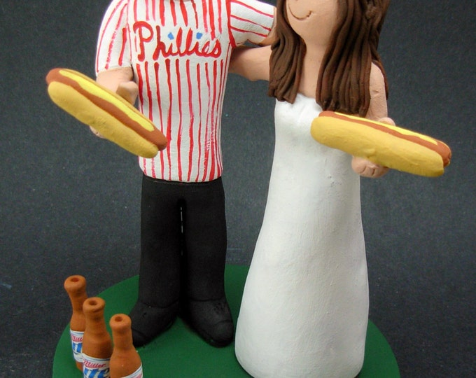 Beer and Hot Dogs Wedding Cake Topper,Phillies Wedding Cake Topper, Phillies Wedding Anniversary Gift/Cake Topper, Baseball Anniversary Gift