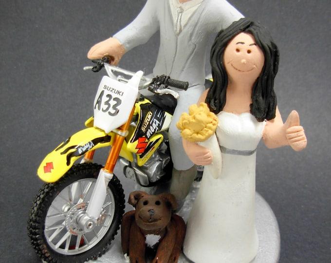 Off Road Suzuki Motorcycle Wedding Cake Topper, Anniversary Gift for Motorcycle Riders, Suzuki Motorcycle Wedding Anniversary Gift.