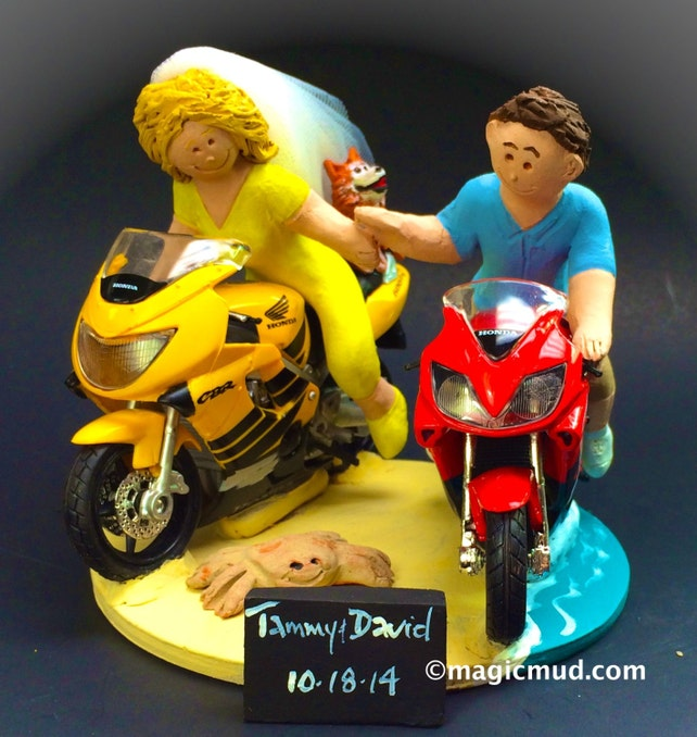 Bride and Groom on Honda CBR Sportbikes Wedding Cake Topper | Etsy