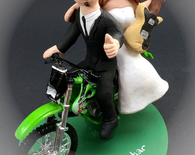 Bride and Groom on Off Road Motorcycle Wedding Cake Topper, Motorcycle Wedding Anniversary Gift, Motorcycle Wedding Anniversary Gift