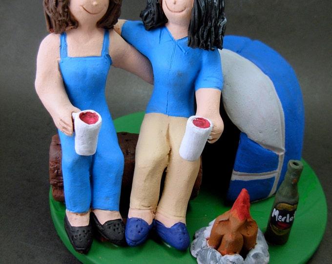 Gay Brides Camping Lesbians Wedding Caketopper, Wedding Cake Topper for Gay Women, Wedding Cake Topper for Two Women,gay marriage figurine