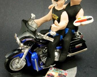Groom and Bride on Harley Davidson Wedding Cake Topper, Harley Bikers Wedding Cake Topper, Motorcycle Wedding Anniversary Gift/Cake Topper