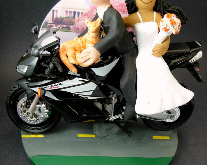 Bride and Groom on Honda Sportbike Motorcycle Wedding Cake Topper, Sport Motorcycle Wedding Cake Topper, Honda Wedding Cake Topper