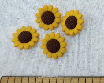 Colorful Flowers Fall Flowers Set of 6 Sunflower Shank Buttons Fall