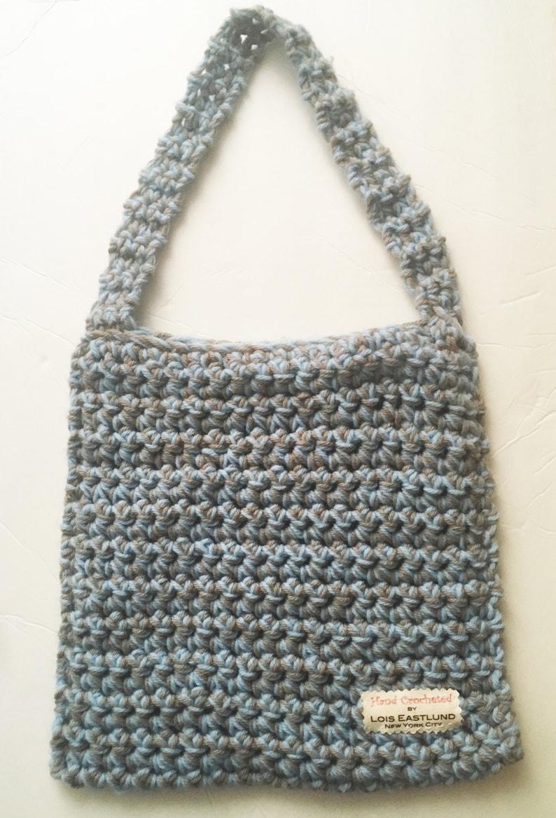 Lt Blue /& Khaki Hand Crocheted Vegan Tote Bag