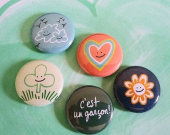 Magnets, it's a boy, iEs un nino, Bouche cousue, birth gift, heart, clover, cloud, sun, graphic art, colors, poetry, stationery, fantasy art